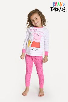 Brand Threads Pink Peppa Pig Girls Printed Fleece Pyjamas