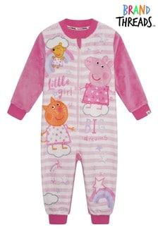 Brand Threads Pink Peppa Pig Girls Fleece All-In-One