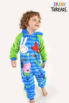 Brand Threads Blue George Pig Boys Fleece All-In-One