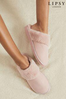 Lipsy Pink Faux Suede Mule Slipper