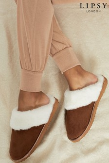 Lipsy Brown Faux Suede Mule Slipper
