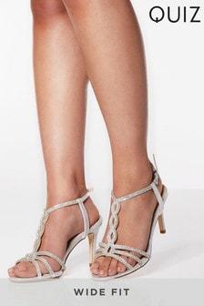 Quiz Wide Fit Diamanté Loop Detail Strappy Heel Sandal