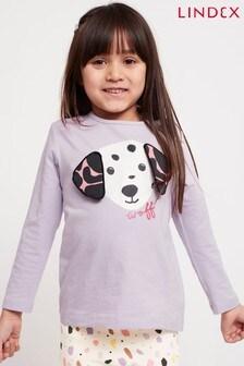 Lindex Purple Girls Long Sleeved Dog Motif Top