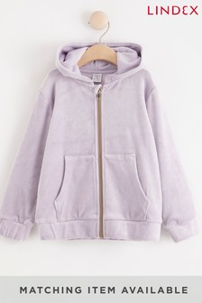 Lindex Purple Girls Velour Hooded Jacket