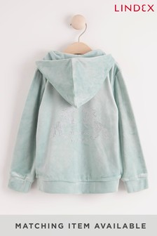 Lindex Green Girls Velour Hooded Jacket