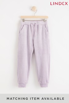 Lindex Purple Girls Velour Joggers