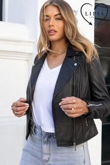 Lipsy Black Leather Biker Jacket