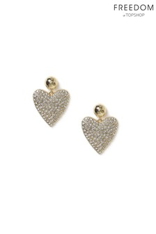 Freedom Gold Crystal Pave Heart Earrings