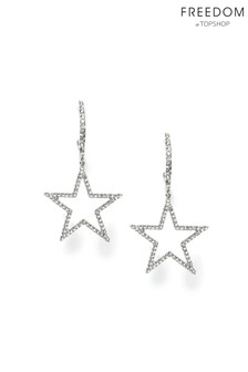 Freedom Silver Crystal Pave Star Hoop Earrings