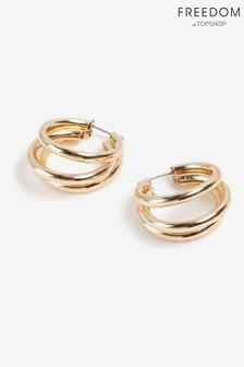 Freedom Gold Three Tube Hoop Earrings Multipack