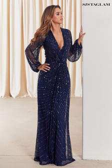 Sistaglam Navy Sequin Wrap Maxi Dress