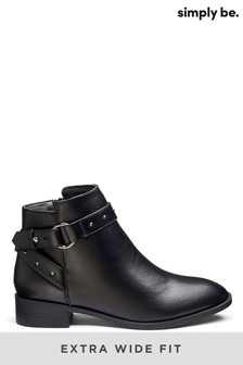 Simply Be Extra Wide Fit Buckle Detail Boots