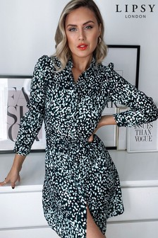 Lipsy Green Spot Shirt Dress