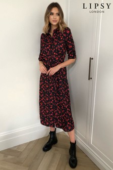 Lipsy Floral Print Midi Shirt Dress
