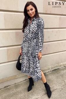 Lipsy Animal Print Midi Shirt Dress