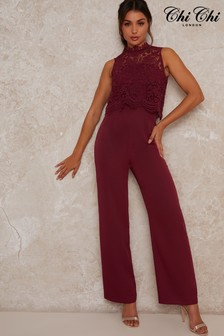 Chi Chi London Berry High Neck Lace Jumpsuit