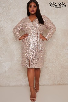 Chi Chi London Silver Curve Leylah Sequin Midi Dress
