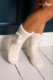 Pour Moi Cosy Cable Knit Slipper Sock