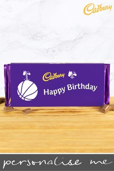Personalised Happy Birthday 360g Cadbury Dairy Milk Bar - Basketball Design by YooDoo