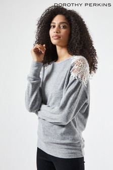 Dorothy Perkins Grey Lace Shoulder Brushed Top