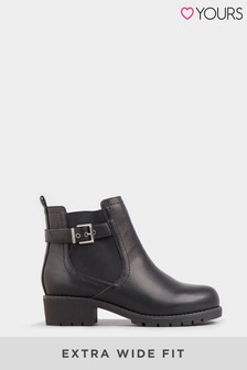 Yours Black Extra Wide Fit Elastic Strap And Buckle Ankle Boot