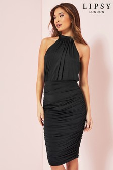 Lipsy Black Ruched Slinky Dress