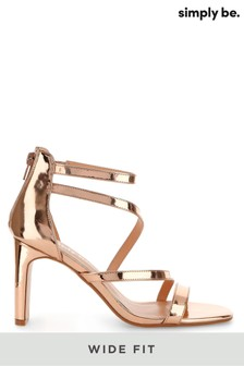 Simply Be Rose Gold Wide Foot Strappy Heel Sandals