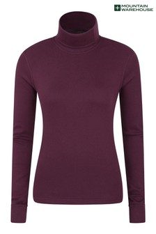 Mountain Warehouse Burgundy Meribel Womens Cotton Roll Neck Top