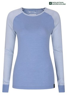 Mountain Warehouse Blue Merino Womens Round Neck Thermal Top