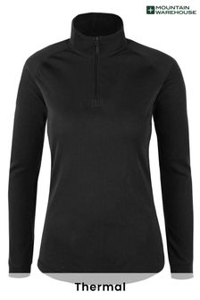 Mountain Warehouse Black Talus Womens Long Sleeved Zip Neck Top