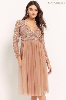 Maya Pink Regular Embellished Wrap Long Sleeve Midi Dress