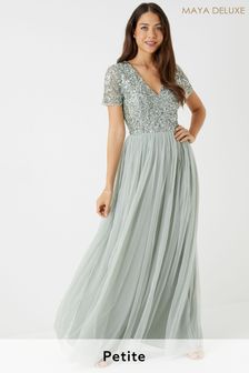 Maya Green Petite V neck Short Sleeve Sequin Maxi Dress