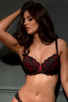 Pour Moi Black and Red Amour Padded Bra
