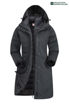 Mountain Warehouse Black Alaskan Womens 3 In 1 Long Jacket