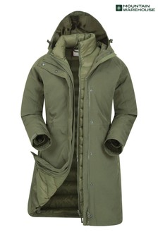 Mountain Warehouse Khaki Alaskan Womens 3 In 1 Long Jacket