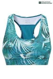 Mountain Warehouse Blue Floral Mesh Motion Sports Bra