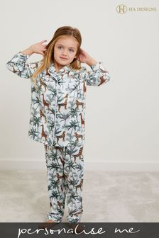 Personalised HA Mini Girls Satin Long Sleeve Pyjama Set by HA Design