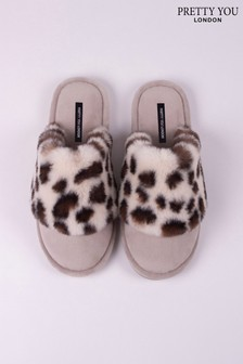Pretty You London Pink Leopard Danni Mule Slipper