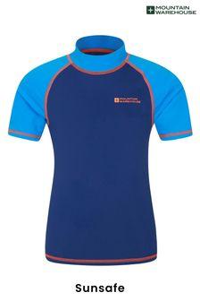Mountain Warehouse Blue & Orange Short Sleeved Kids Rash Vest