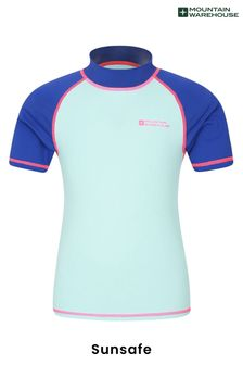Mountain Warehouse Blue & Pink Short Sleeved Kids Rash Vest