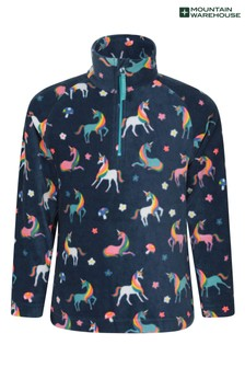 Mountain Warehouse Blue Unicorn Endeavour Kids Printed Fleece