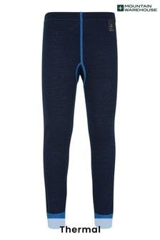 Mountain Warehouse Blue Merino Kids Base Layer Thermal Pants
