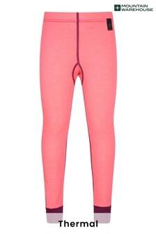 Mountain Warehouse Pink Merino Kids Base Layer Thermal Pants