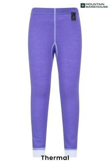 Mountain Warehouse Purple Merino Kids Base Layer Thermal Pants