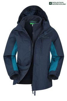Mountain Warehouse Blue Mountain Warehouse Cannonball 3 In 1 Kids Waterproof Jacket