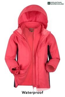 Mountain Warehouse Pink Lightning 3 In 1 Kids Waterproof Jacket