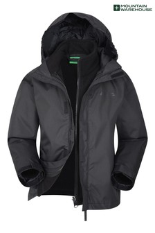 Mountain Warehouse Black Fell Kids 3 In 1 Water Resistant Jacket