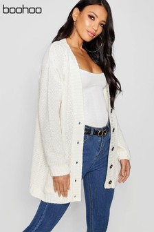 Boohoo Cream Cable Knit Longline Cardigan