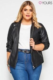 Yours Black Curve Faux Leather Centre Biker Jacket