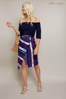 Little Mistress Blue Kennet Stripe Belted Bardot Dress